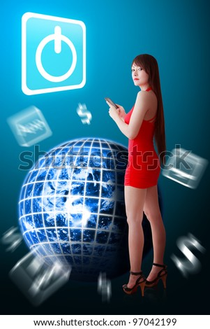 Woman in red and Power icon : Elements of this image furnished by NASA