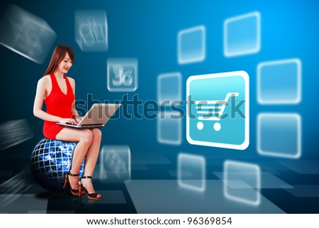 Woman in red dress and Cart icon : Elements of this image furnished by NASA - stock photo