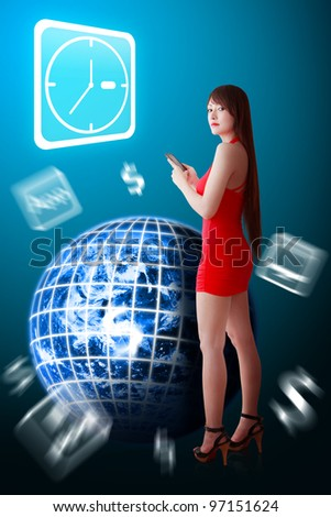 Woman in red dress and Clock icon : Elements of this image furnished by NASA