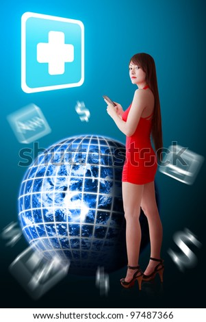 Woman in red dress and First Aid icon : Elements of this image furnished by NASA