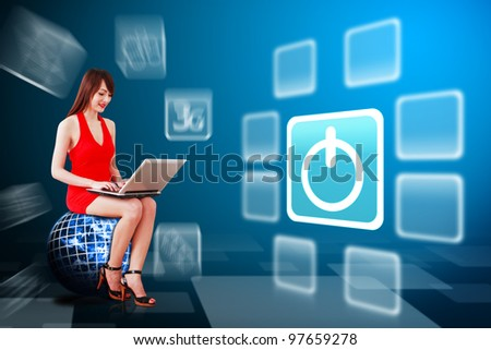 Woman in red dress and power icon : Elements of this image furnished by NASA - stock photo