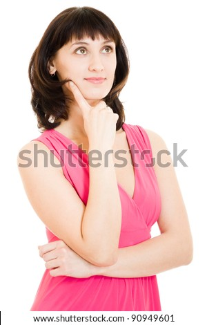 Woman in red dress dreams on a white background.