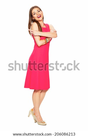 Woman in red dress. Full body isolated white background portrait.