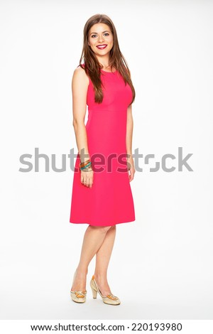 Woman in red dress. Full body isolated white background portrait. - stock photo