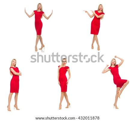 Woman in red dress isolated on white - stock photo