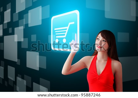 Woman in red dress touch the Cart icon
