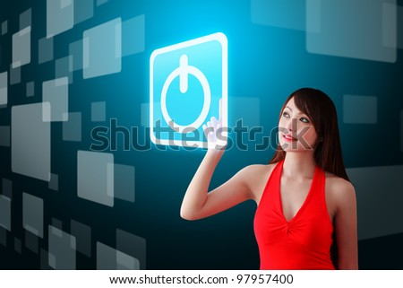 Woman in red dress touch the Power icon