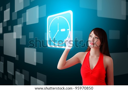 Woman in red dress touch the Time icon