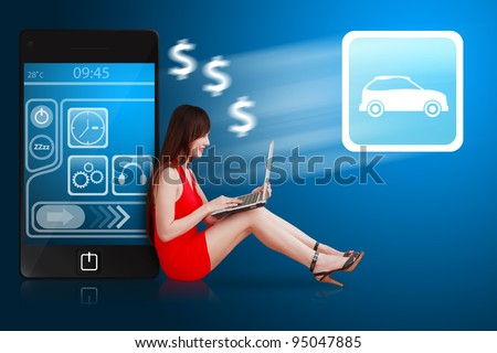 Woman in red dress using notebook computer and car icon - stock photo