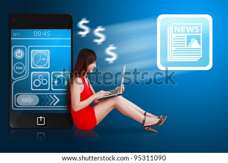 Woman in red dress using notebook computer and news icon