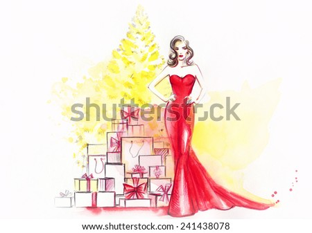 woman in red dress with many gift boxes  - stock photo
