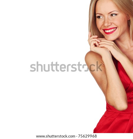 woman in red isolated on white - stock photo