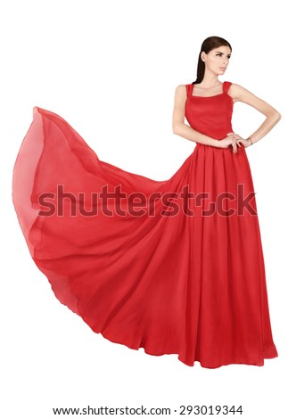 Woman in red, long dress.... - stock photo