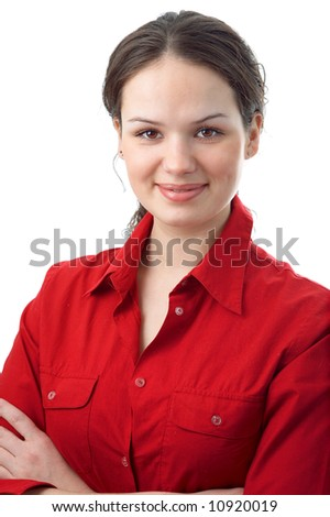 woman in red on white background