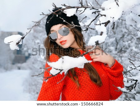 Woman in red pullover  - stock photo