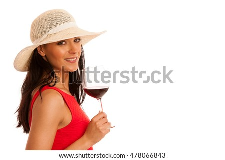 woman in red summer dress with glass of wine isolated