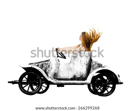 Woman in retro grunge toy car over a white background. - stock photo