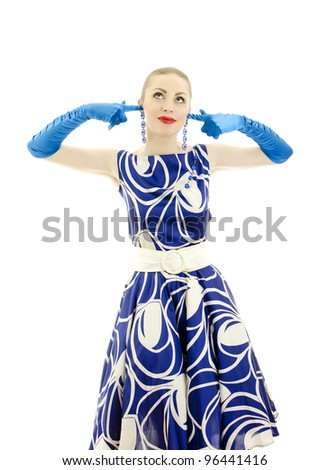 Woman in retro style, closed ears by hand. Isolated over white background.