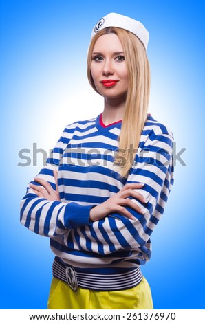Woman in sailor costume isolated on white - stock photo