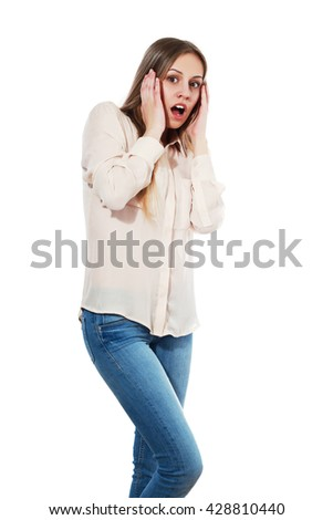 woman in shock surprised or scared - stock photo