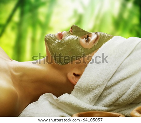 Woman in Spa.Mud Mask - stock photo