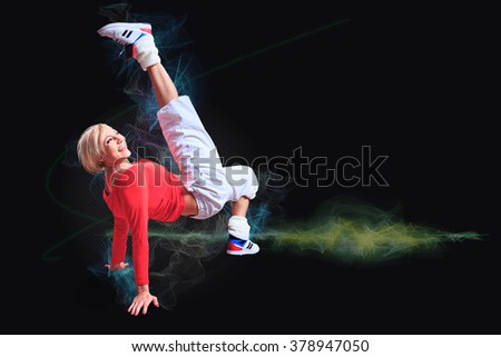 woman in sport dress at fitness exercise - stock photo