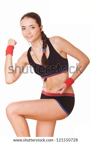 woman in sportswear workout exercises isolated on white background - stock photo
