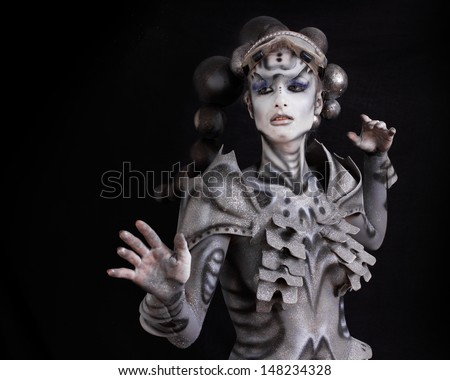 Woman in star theme.Fine art portrait - stock photo