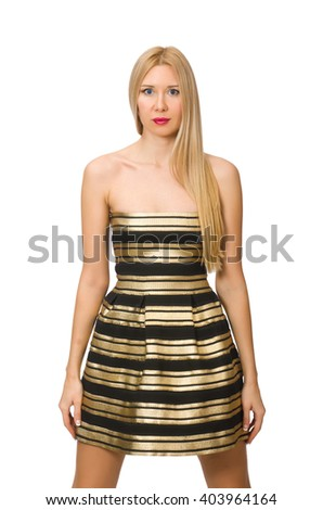 Woman in striped gold and black dress isolated on white - stock photo