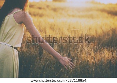 Woman in summer sunset at wheat field - stock photo