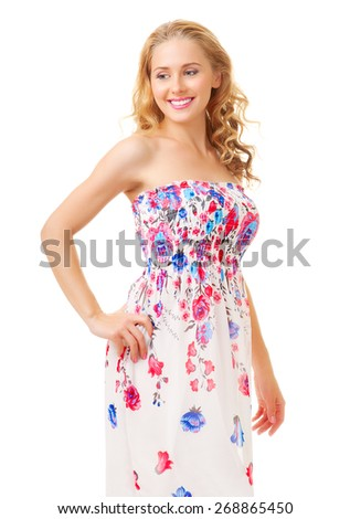 Woman in sundress - stock photo