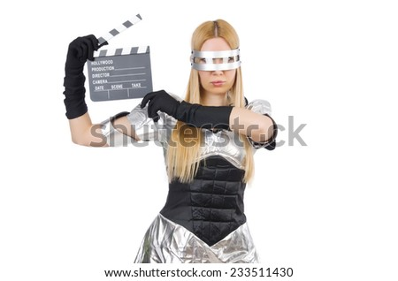 Woman in tech concept isolated on white - stock photo