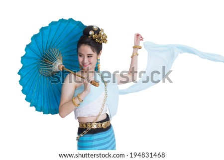 Woman in Thai northern costume on white background - stock photo