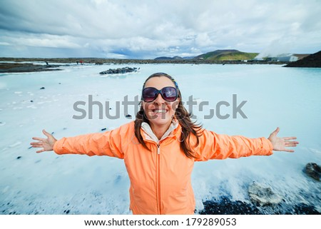 Woman in The Blue Lagoon geothermal bath resort in Iceland