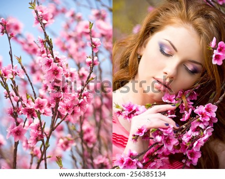 Woman in the flowered garden in the spring time - stock photo