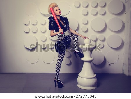 Woman in the form of a Chess Queen. Costume party. Halloween. Make up  sc 1 st  Shutterstock & Woman Form Chess Queen Costume Party Stock Photo (Royalty Free ...