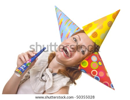 Woman in three party hats with horn