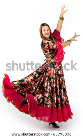 Woman in traditional costume - gipsy dance