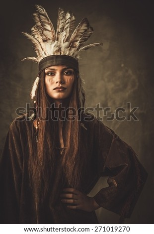Woman in traditional indian garment and headdress  - stock photo