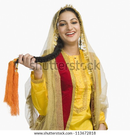 Woman in traditional Punjabi dress - stock photo
