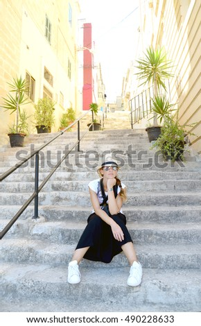 woman in travel having a rest