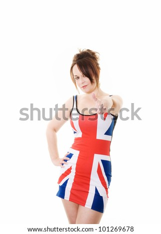 woman in union jack dress holding thumb up