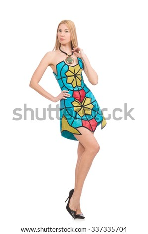 Woman in vivid strapless dress isolated on white - stock photo