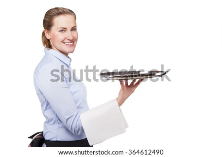 Woman in waiter uniform holding tray. Smiling blond woman, isolated. - stock photo