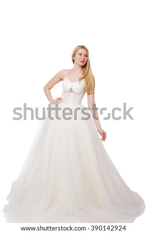 Woman in wedding dress isolated on white - stock photo