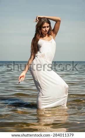 Wet white dresses