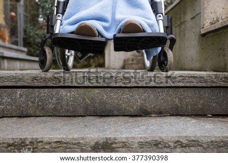 woman in wheelchair in problems, cannot pass stairs