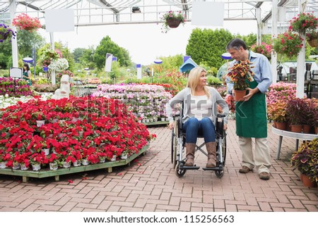 Woman in wheelchair talking to employee carrying plant in garden center