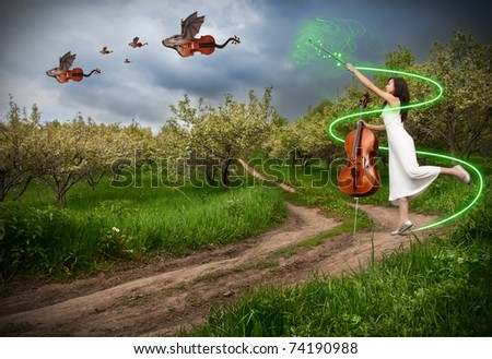 Woman in white dress making magic with her commissure wand and dragon violins with bat wings flying away in the sky - stock photo