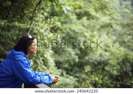 Woman in Wilderness Area - stock photo